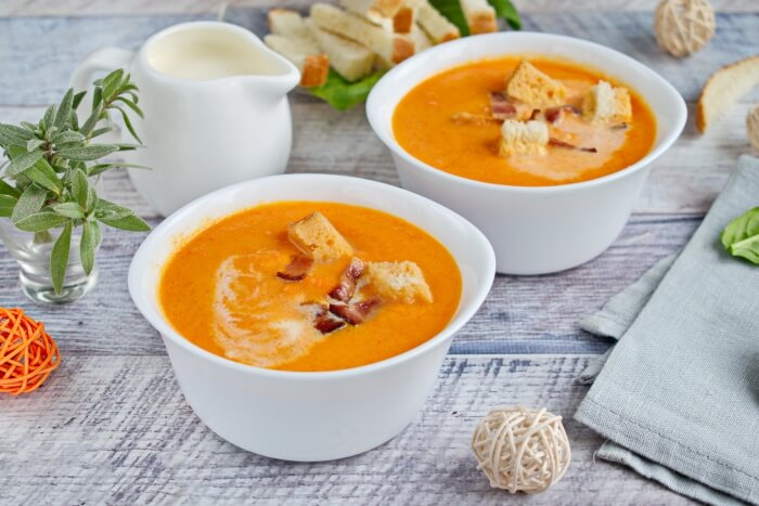 How to serve Carrot and Bacon Soup