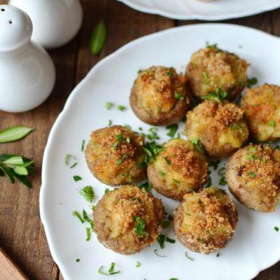 Cheese Stuffed Mushrooms with Breadcrumbs Recipe - Simple Cheesy Snacks Recipe - Simple Stuffed Mushroom Recipe