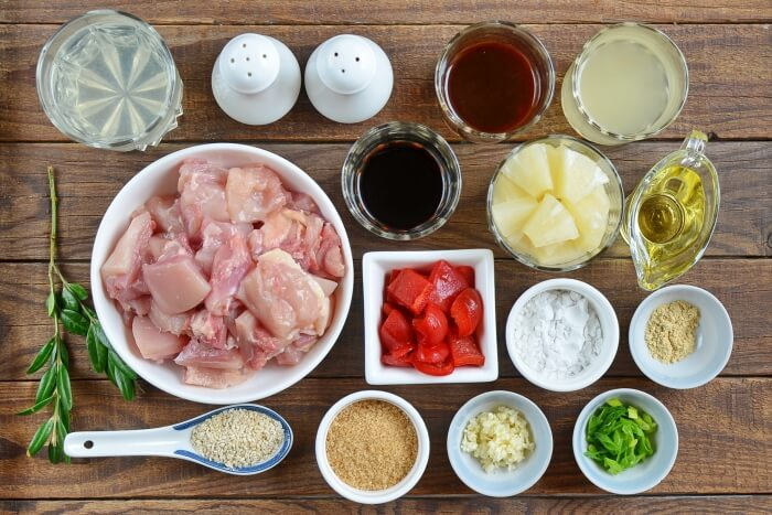 Ingridiens for Chinese Pineapple Chicken