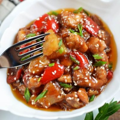Chicken with Pineapple in Sticky Asian Sauce Recipe - Chineese Recipes with Pineapple - Pineapple Chicken Healthy