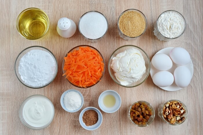Ingridiens for Easy Carrot Cake