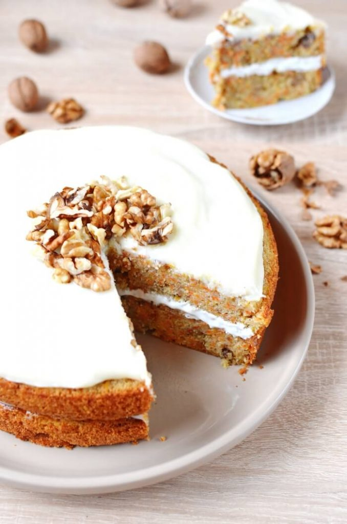 Classic carrot cake with frosting