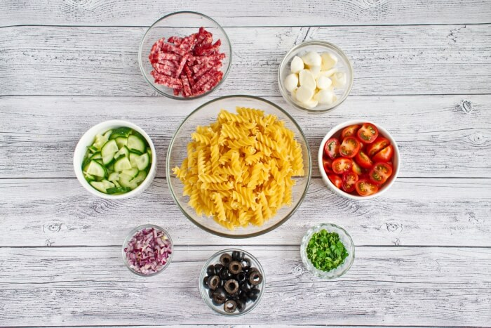 Ingridiens for Easy Pasta Salad