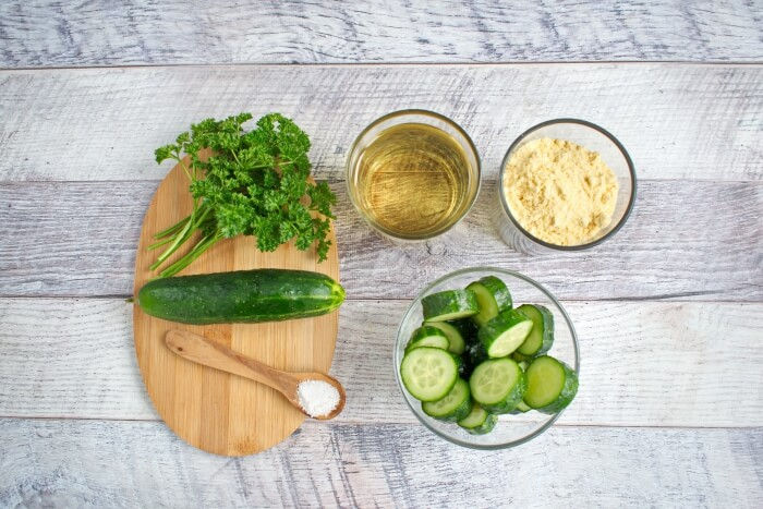 Ingridiens for Fried Cucumber Rounds
