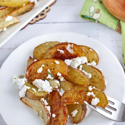Potato Wedges with Feta Recipe - Party Snacks with Cheese Recipes - Greek Potato Wedges