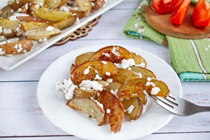 How to serve Greek Potato Wedges with Feta