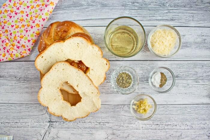 Ingridiens for Salted Garlic Bagel Chips