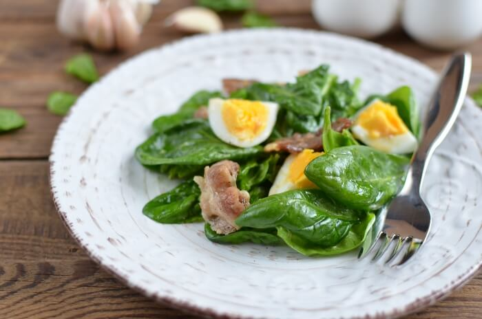 How to serve Keto Spinach Salad with Bacon and Eggs