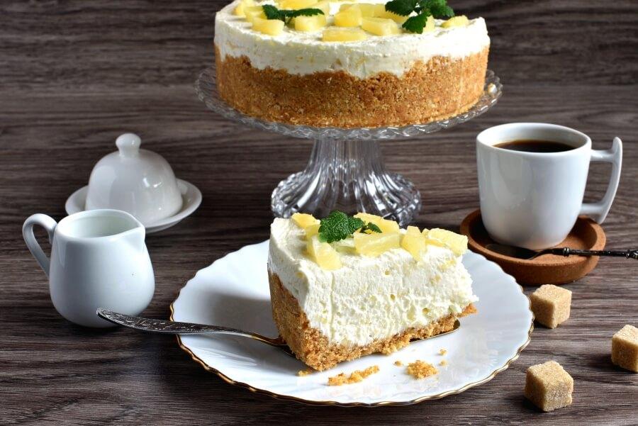 Creamy Pineapple Cheesecake Recipe - How to make Creamy Pineapple Cheesecake - No Bake Sweet Pineapple Cheescake