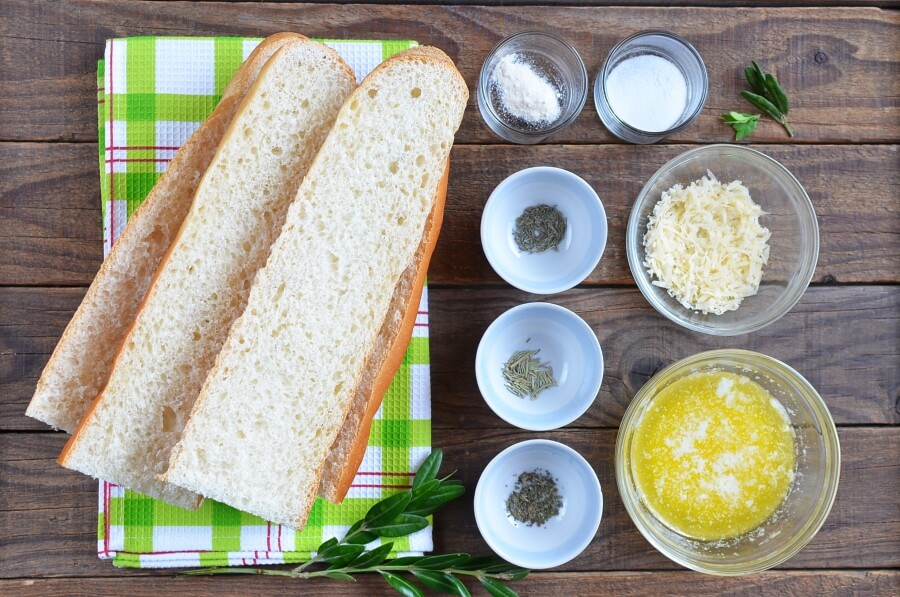 Ingridiens for Cheesy Garlic Bread