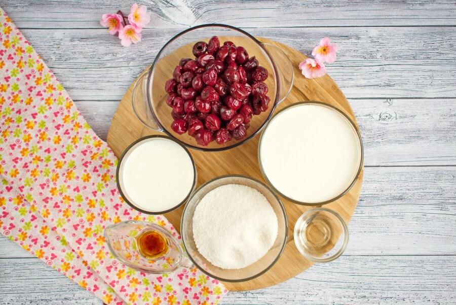 Ingridiens for Homemade Cherry Vanilla Ice Cream