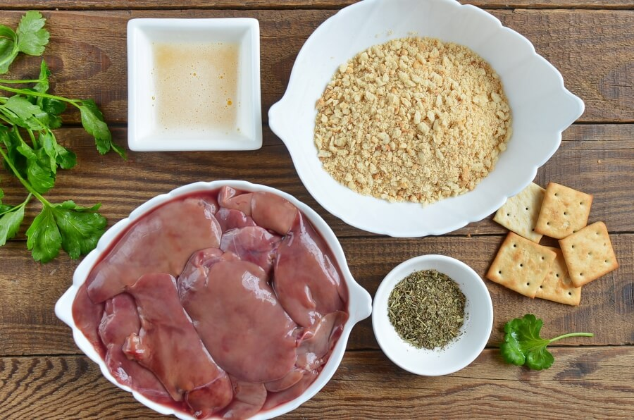 Ingridiens for Crumbed Baked Chicken Livers