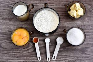 Ingridiens for Easy Vanilla Sponge