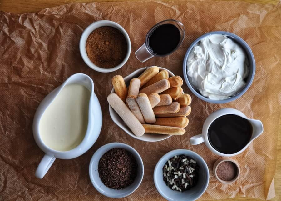Ingridiens for Authentic Italian Tiramisu