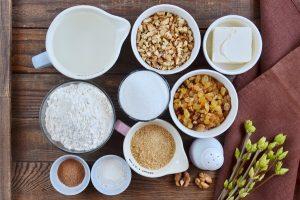 Ingridiens for Raisin and Walnut Cake