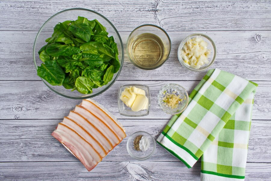 Ingridiens for Southern Fried Spinach