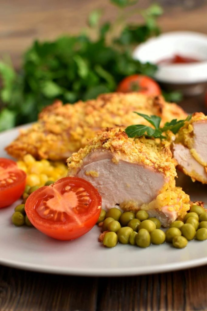 Baked Cornflake Chicken-Easy Baked Chicken with Crumb Coating-Delicious Baked Cornflake Chicken