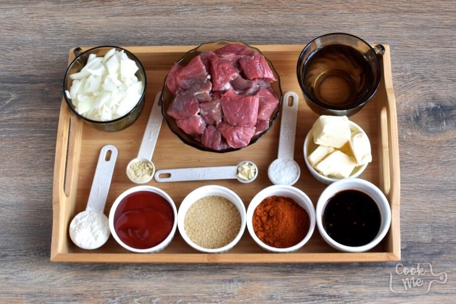Ingridiens for Low Carb Beef Paprika