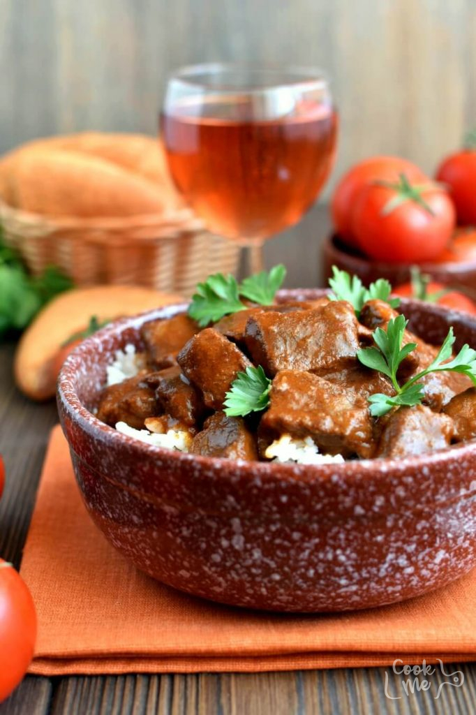 A slow cooked, paprika flavored beef