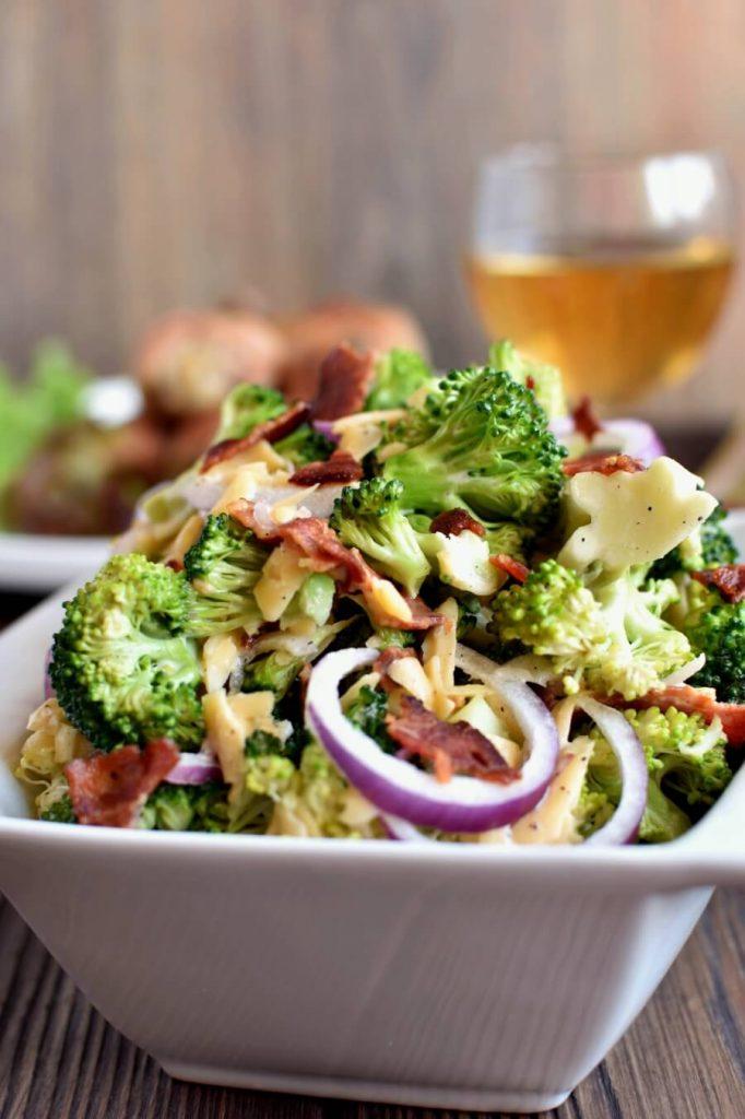 Tasty salad showcasing broccoli