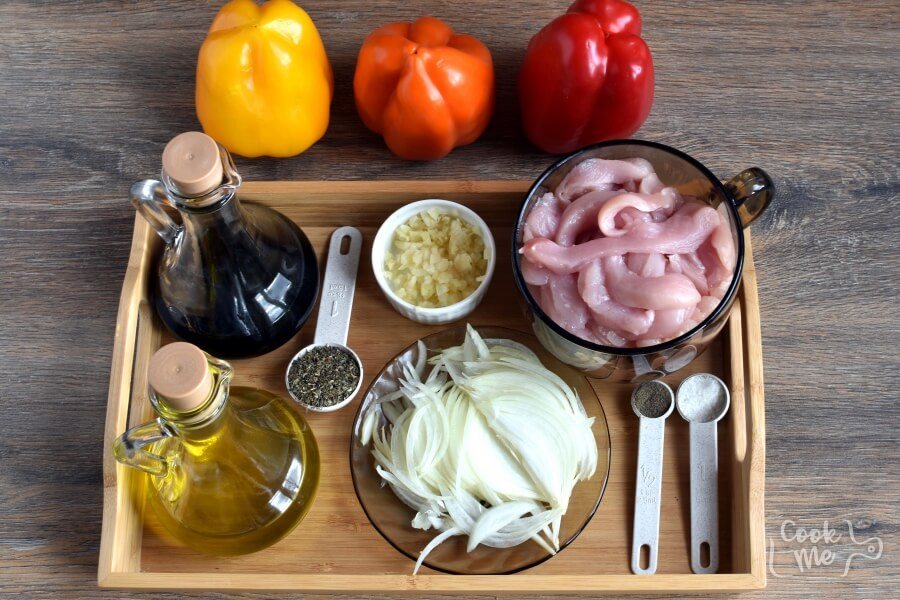 Ingridiens for Low Carb Chicken and Peppers with Balsamic Vinegar