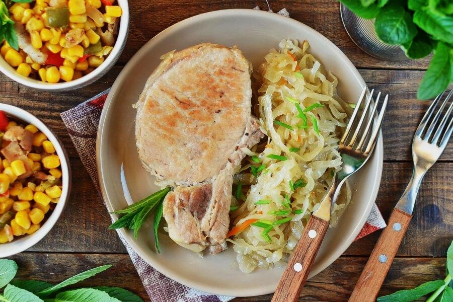 German Pork Chops and Sauerkraut Recipe-How To Make German Pork Chops and Sauerkraut- Delicious German Pork Chops and Sauerkraut