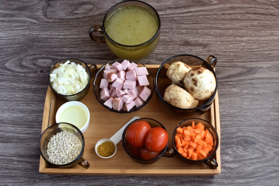 Ingridiens for Ham and Mushroom Barley Soup