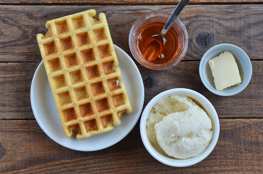 Ingridiens for Ice Cream Waffle Sandwich