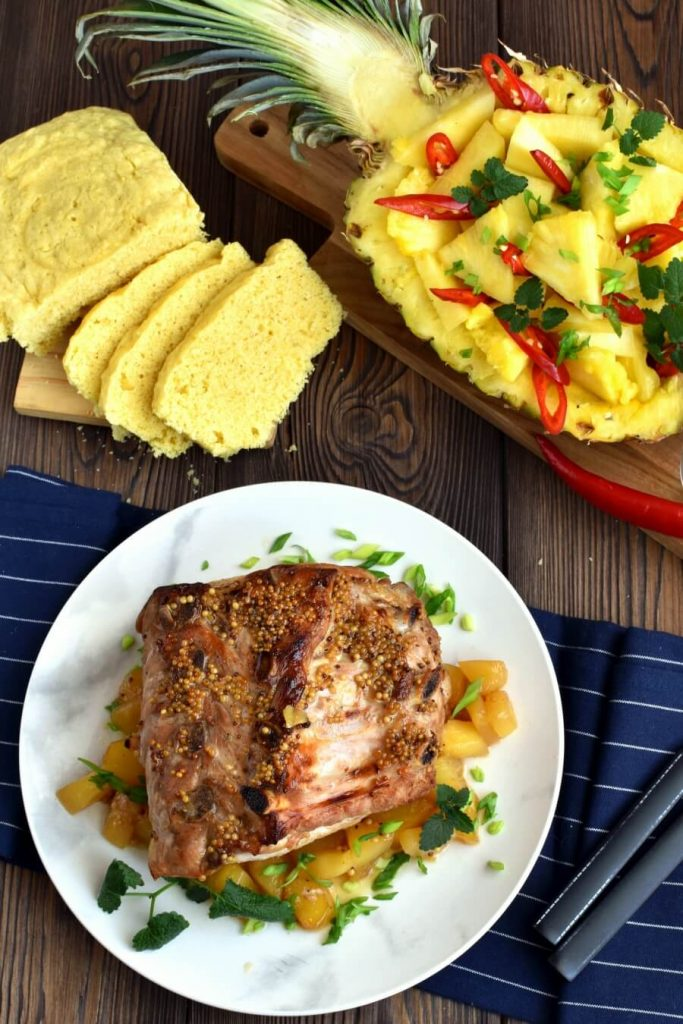 Juicy pork coated in a honey, mustard and pineapple syrup