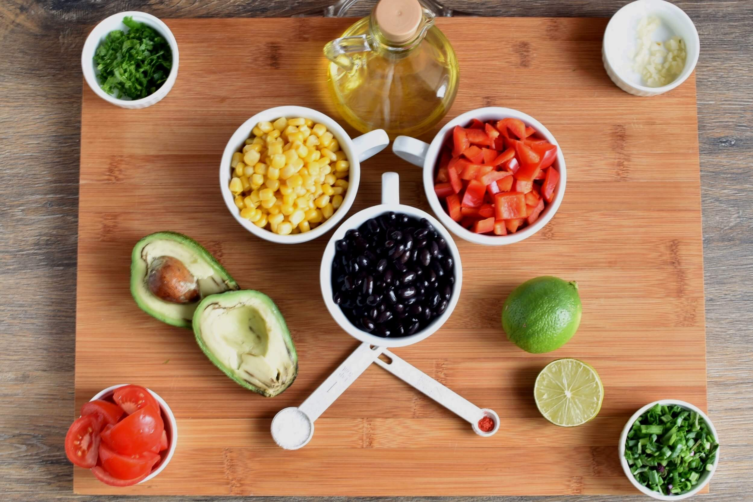 Ingridiens for Gluten Free Black Bean and Corn Salad