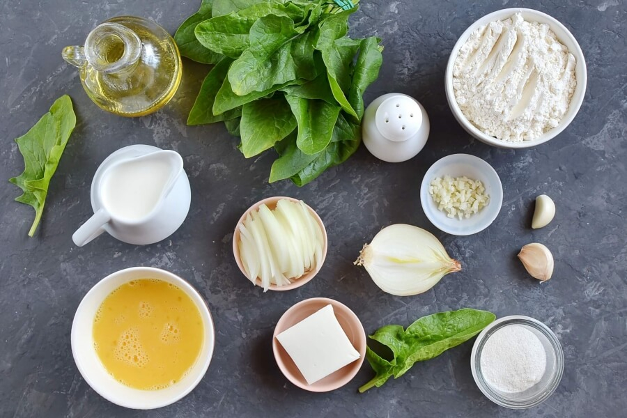 Ingridiens for Caramelized Onion & Spinach Olive Oil Quick Bread
