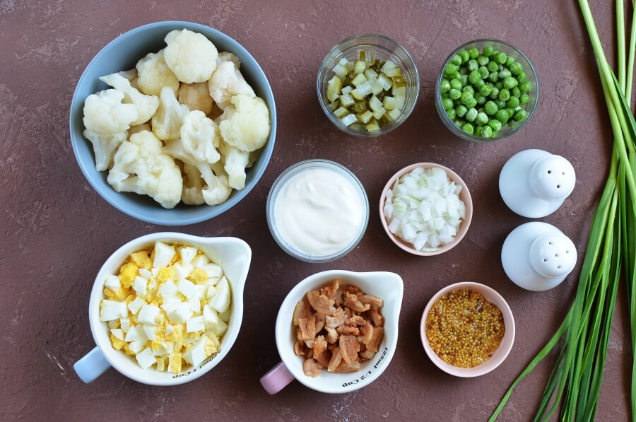 Ingridiens for Keto Low Carb Cauliflower Salad