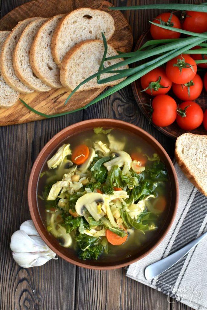 Veggie-laden chicken soup