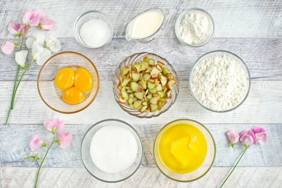 Ingridiens for Fresh Rhubarb Torte