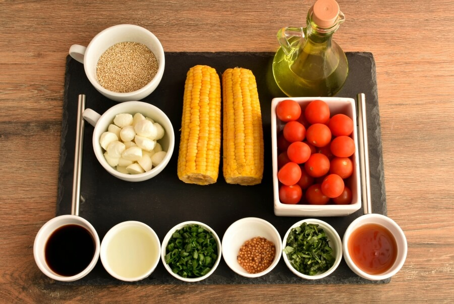 Ingridiens for Healthy Grilled Corn Caprese Quinoa Salad