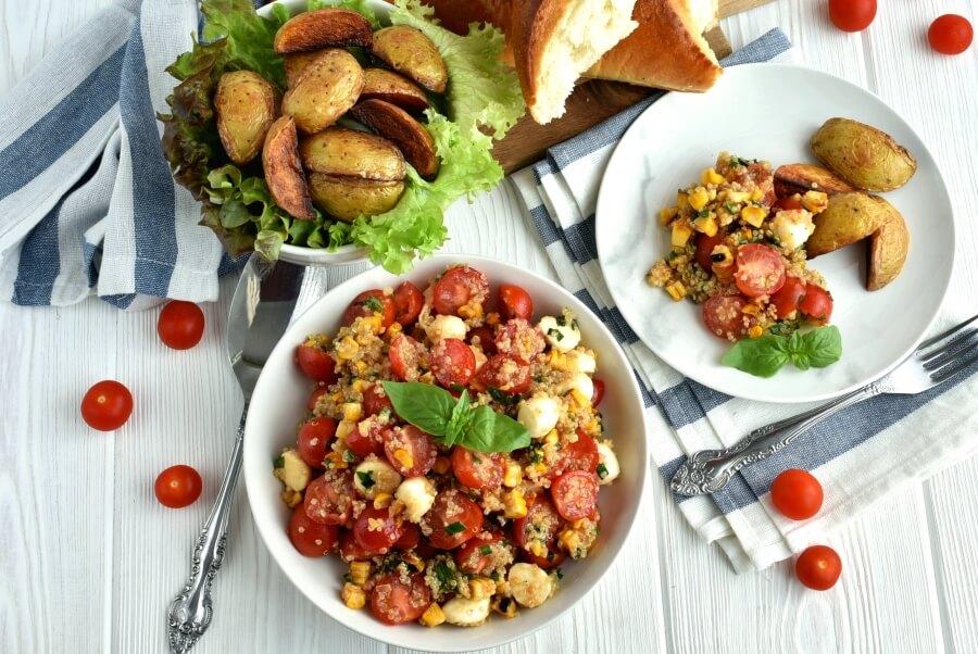 How to serve Healthy Grilled Corn Caprese Quinoa Salad