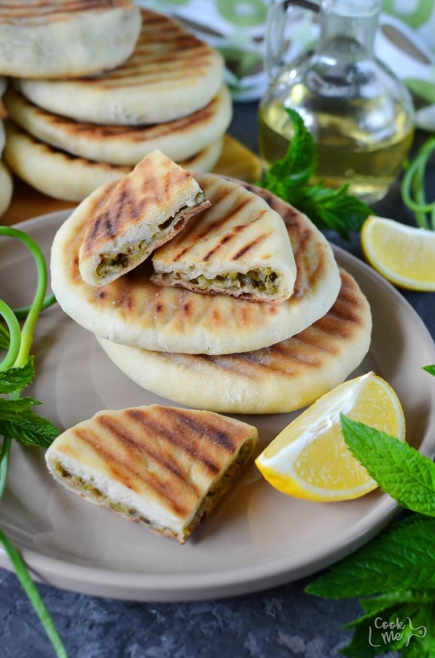 Grilled Naan Bread With Garlic Scape Chutney