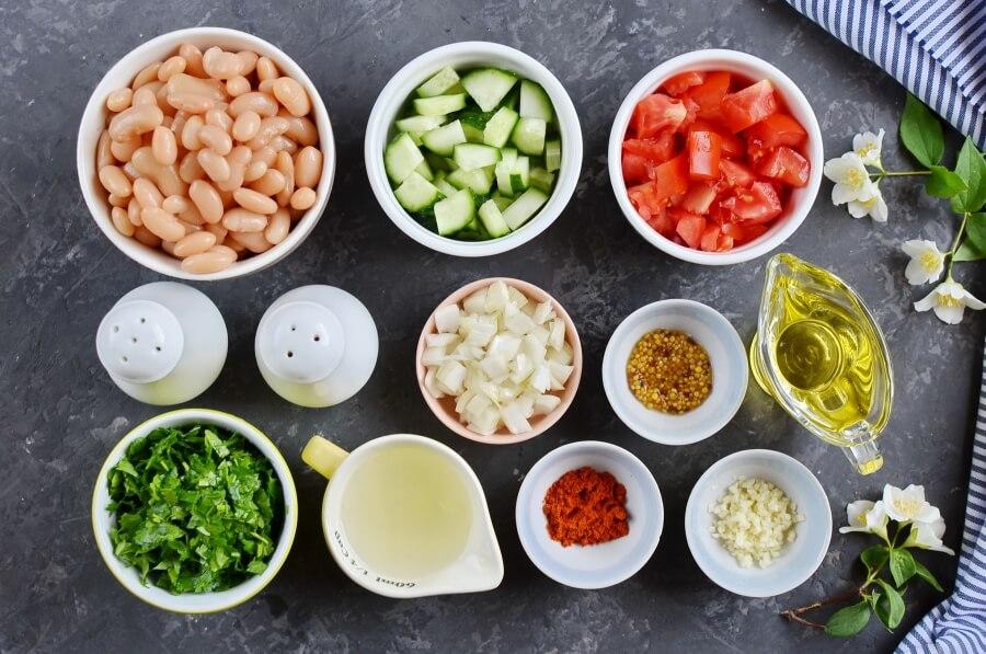 Ingridiens for Vegan Kidney Bean Salad Cilantro and Dijon Vinaigrette