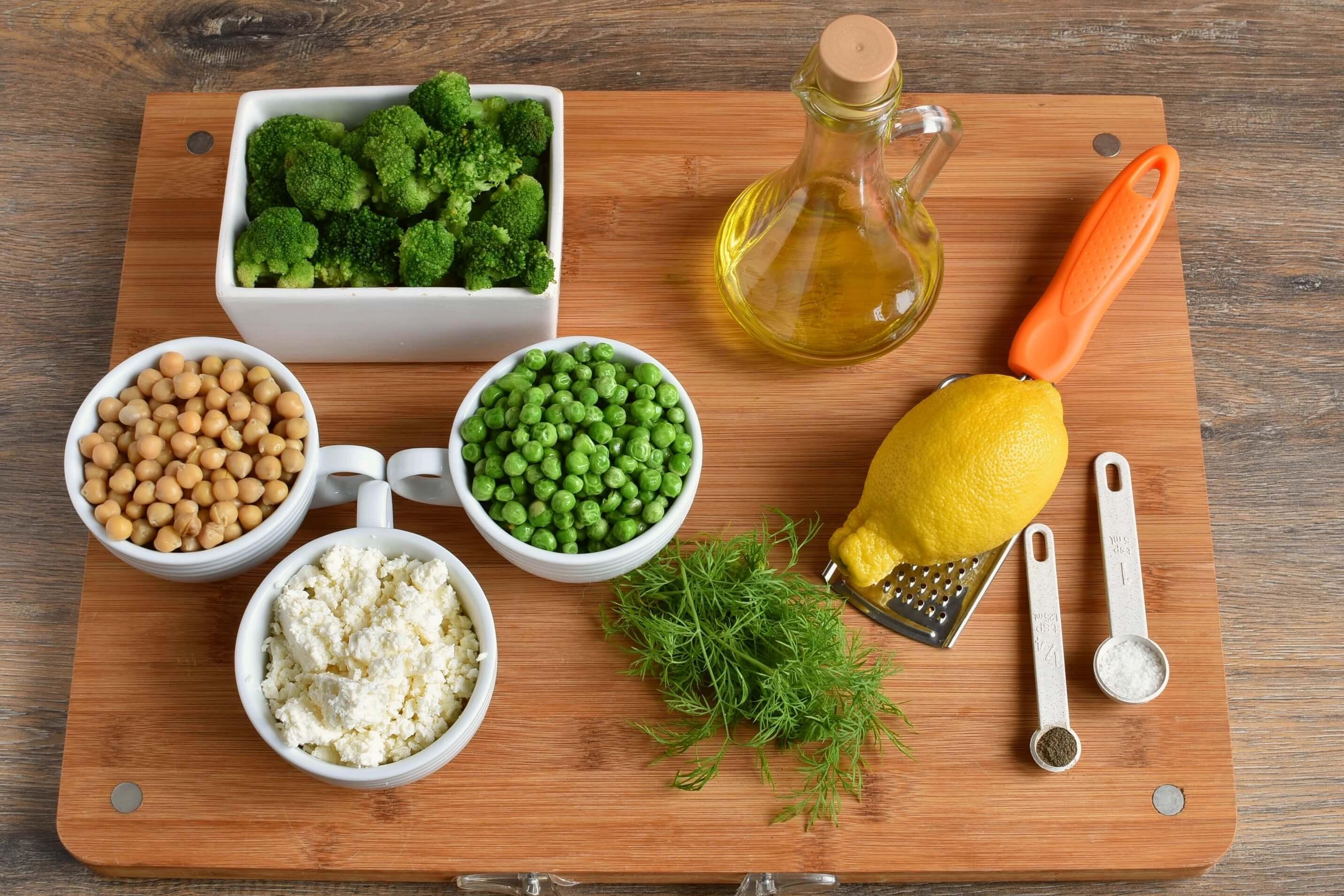 Ingridiens for Lemony Broccoli Salad With Chickpeas and Feta