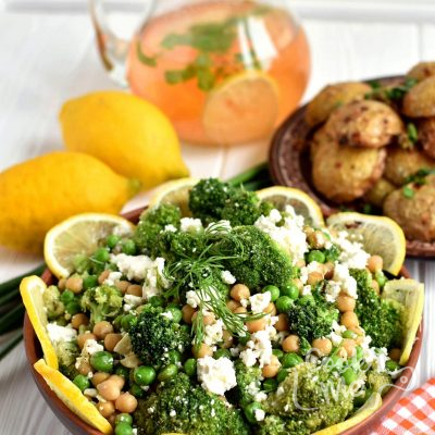Lemony Broccoli and Chickpea Salad with Feta recipe-How to make Lemony Broccoli and Chickpea