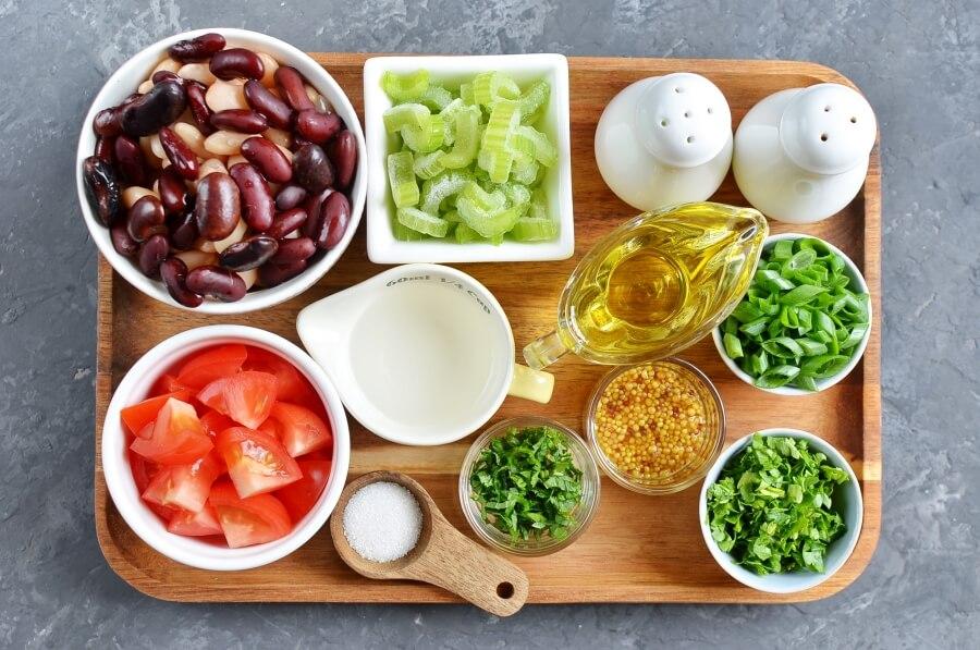 Ingridiens for Vegan Mixed Bean Salad