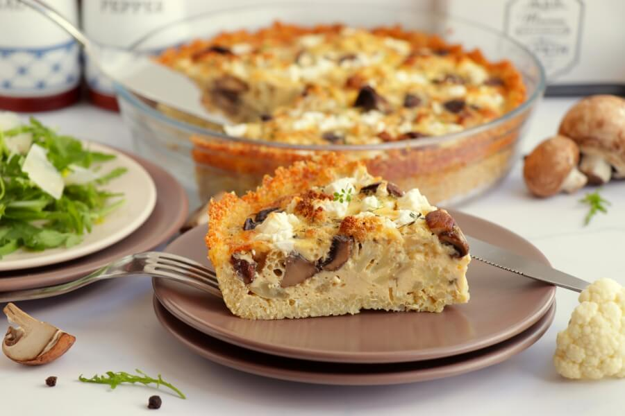 Roasted Cauliflower, Mushroom and Goat Cheese Quiche with Quinoa Crust Recipe-How to Cook Roasted Cauliflower, Mushroom Goat Cheese Quiche Quinoa Crust