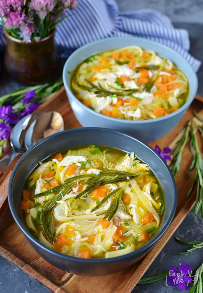 Rosemary infused chicken soup