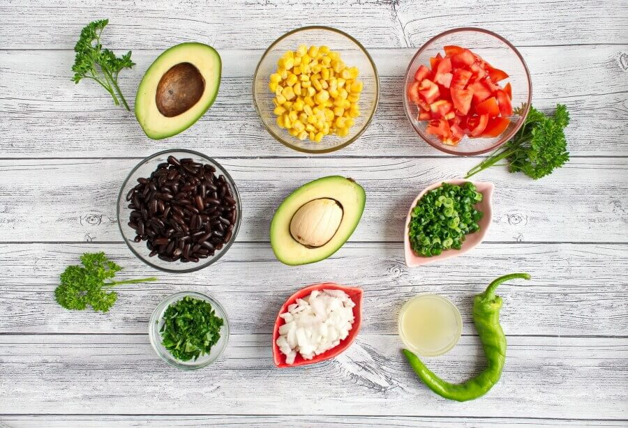 Ingridiens for Low Cholesterol Black Bean Salad