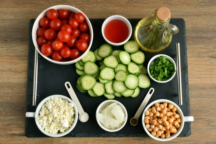 Ingridiens for Healthy Tomato, Cucumber and Feta Salad