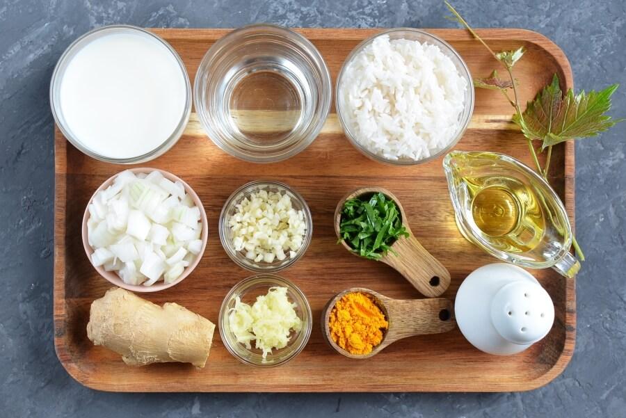 Ingridiens for Vegan Turmeric Coconut Basmati Rice