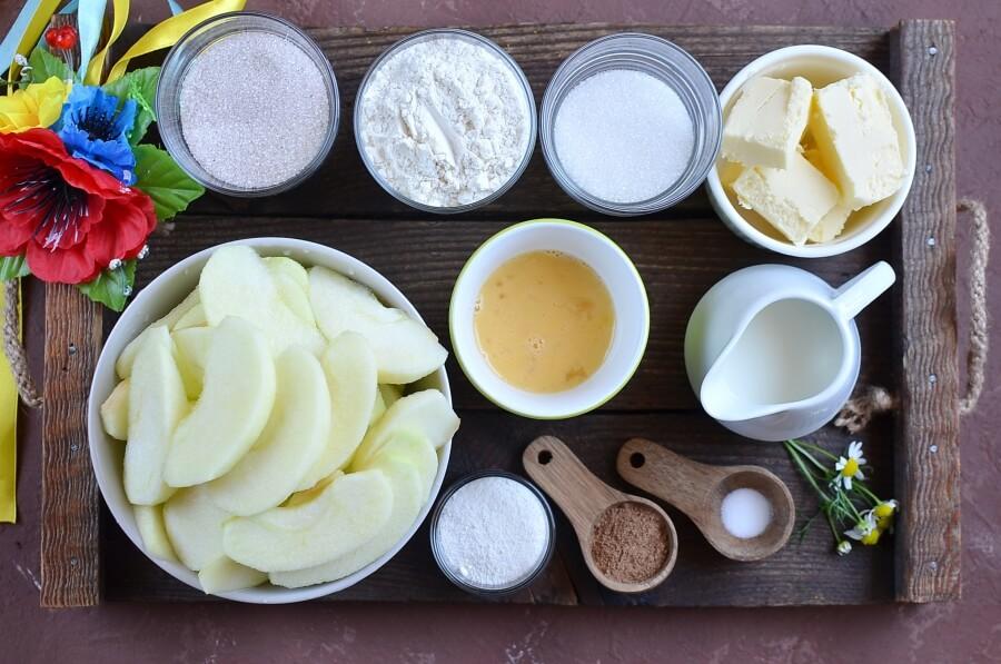Ingridiens for Ukrainian Apple Cake (Yabluchnyk)