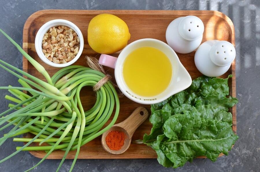 Ingridiens for Vegan Garlic Scape and Swiss Chard Pesto