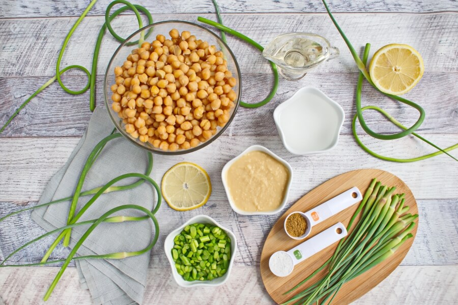 Vegan Hummus with Garlic Scapes recipe-How to make Hummus with Garlic Scapes-Hummus with Garlic Scapes