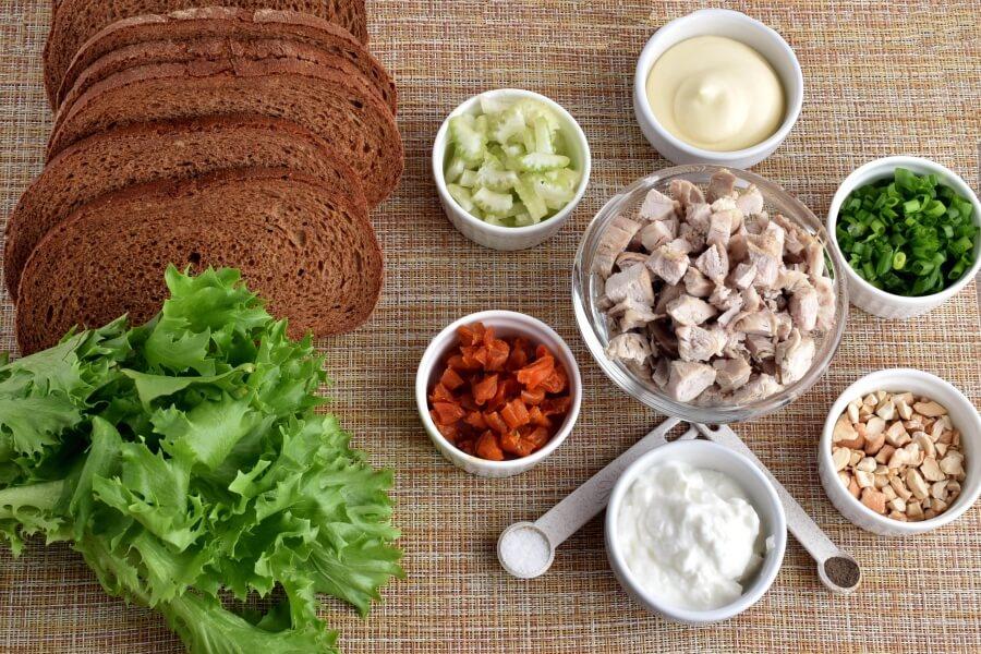 Ingridiens for Cashew Apricots Turkey Salad Sandwiches